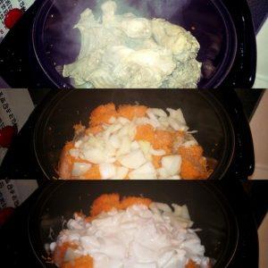 добавим сметанную заливку и овощи